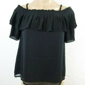Jessica Simpson Off Shoulder Top S Black Pleated